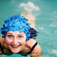 A female senior citizen swimming